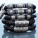 Hollis Bahringer Corium Black Leather and Steel Bracelet Collection