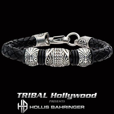 Hollis Bahringer Corium Tiki Mens Leather and Steel Bracelet