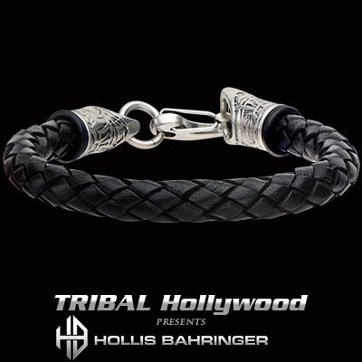Hollis Bahringer Corium Mens Italian Black Leather Bracelet