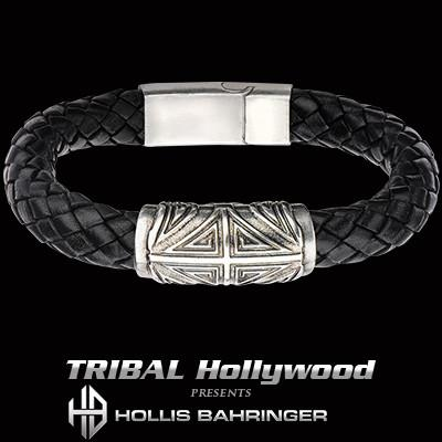 Hollis Bahringer Corium Heraldic Cross Mens Leather Bracelet