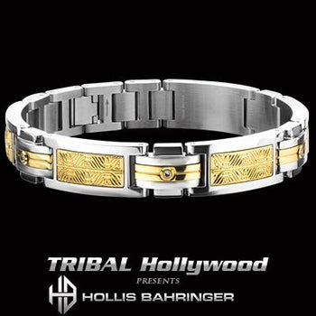 Hollis Bahringer Aurem Mens Gold IP 316L Steel Bracelet