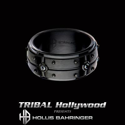 Hollis Bahringer Black Armor Mens Black Stainless Steel Ring