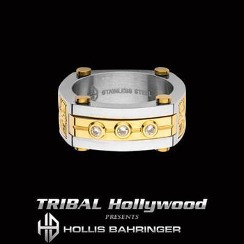 Hollis Bahringer Aurem Mens Gold IP Stainless Steel Ring