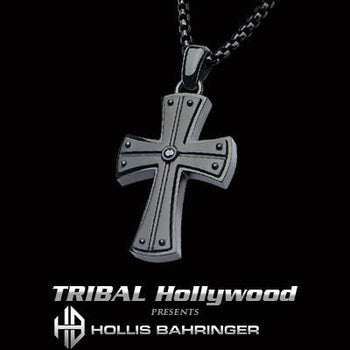Hollis Bahringer Black Armor Cross Black Steel Necklace
