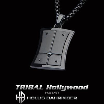Hollis Bahringer Black Armor Shield Mens Steel Necklace