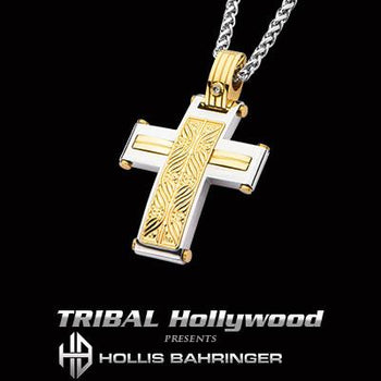Hollis Bahringer Aurem Cross Gold Steel Mens Cross Necklace