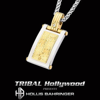 Hollis Bahringer Aurem Shield Gold IP Steel Mens Necklace