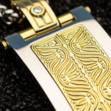 Hollis Bahringer Aurem Shield Gold IP Steel Mens Necklace Close-up