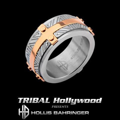 Hollis Bahringer Santa Fe Mens Ring with Rose Gold Steel