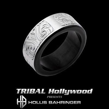 Hollis Bahringer Stainless Steel Triumph Mens Ring