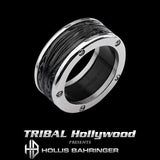 Hollis Bahringer Spade Mens Ring in Black Stainless Steel