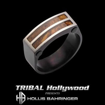 Hollis Bahringer Palisander Rosewood and Steel Mens Ring
