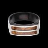 Hollis Bahringer Palisander Rosewood and Steel Mens Ring 1