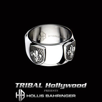 Hollis Bahringer French Quarter Fleur de Lis Steel Mens Ring
