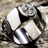 Hollis Bahringer French Quarter Fleur de Lis Steel Mens Ring Close-up