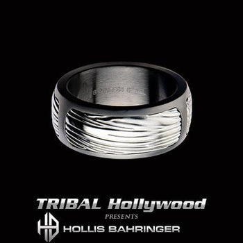 Hollis Bahringer Mens Freedom Eagle Wing Steel Ring