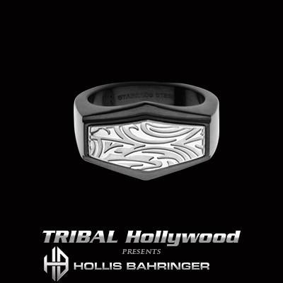 Hollis Bahringer Gotham Mens Black Steel Ring