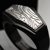Hollis Bahringer Gotham Mens Black Steel Ring Close-up