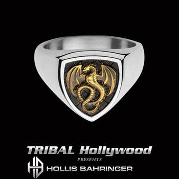 Hollis Bahringer Kingdom Dragon Shield Mens Steel Ring