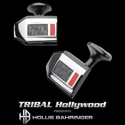 Hollis Bahringer Carbon Fiber Cufflinks in Black Steel