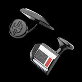 Hollis Bahringer Carbon Fiber Cufflinks in Black Steel 1