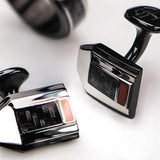 Hollis Bahringer Carbon Fiber Cufflinks in Black Steel Close-up