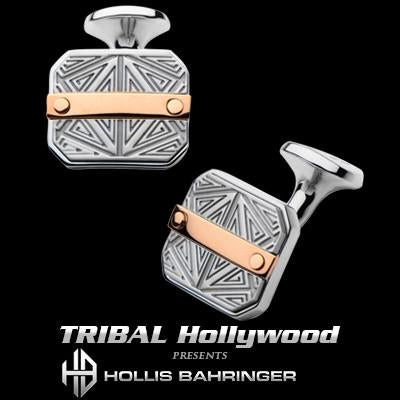 Hollis Bahringer Santa Fe Cufflinks with Rose Gold Steel