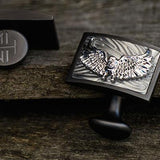 Hollis Bahringer Freedom Eagle Steel Cufflinks Close-up