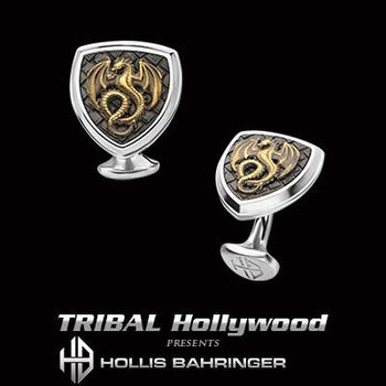 Hollis Bahringer Kingdom Dragon Cufflinks in Black IP Steel