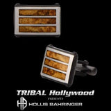Hollis Bahringer Palsiander Rosewood and Steel Cufflinks