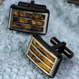 Hollis Bahringer Palsiander Rosewood and Steel Cufflinks Close-up
