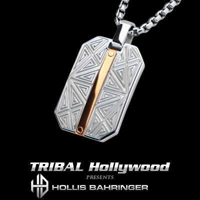 Hollis Bahringer Santa Fe Rose Gold Steel Dog Tag Necklace
