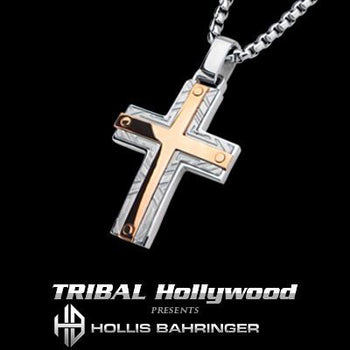 Hollis Bahringer Santa Fe Cross Mens Necklace Rose Steel