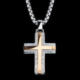 Hollis Bahringer Santa Fe Cross Mens Necklace Rose Steel 1