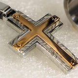 Hollis Bahringer Santa Fe Cross Mens Necklace Rose Steel 2