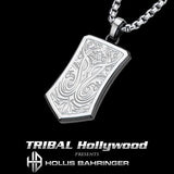 Hollis Bahringer Triumph Shield Steel Mens Necklace