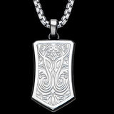 Hollis Bahringer Triumph Shield Steel Mens Necklace 2