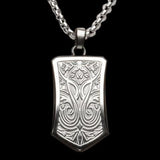 Hollis Bahringer Triumph Shield Steel Mens Necklace 1