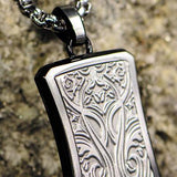 Hollis Bahringer Triumph Shield Steel Mens Necklace Close-up