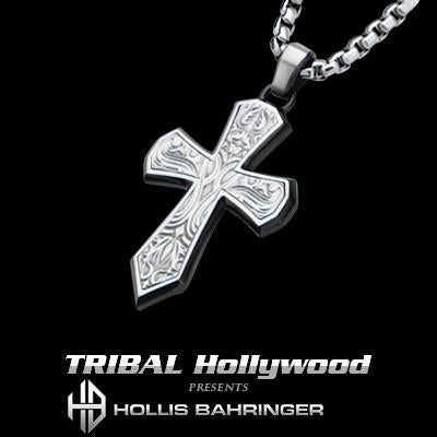 Hollis Bahringer Mens Steel Triumph Cross Necklace