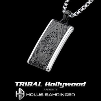 Hollis Bahringer Spade Black Steel Mens Dog Tag Necklace