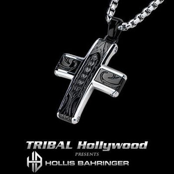 Hollis Bahringer Spade Mens Cross Necklace in Black Steel