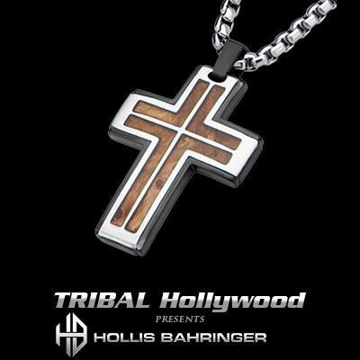 Hollis Bahringer Palisander Rosewood Steel Cross Necklace