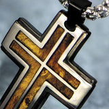 Hollis Bahringer Palisander Rosewood Steel Cross Necklace Close-up