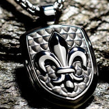 Hollis Bahringer French Quarter Fleur de Lis Steel Necklace Close-up