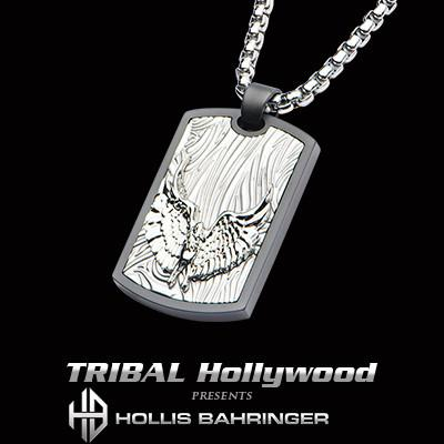 Hollis Bahringer Freedom Eagle Steel Dog Tag Mens Necklace
