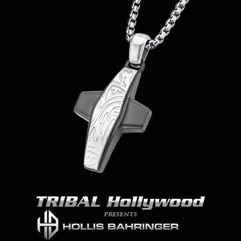 Hollis Bahringer Gotham Cross Modern Mens Steel Necklace