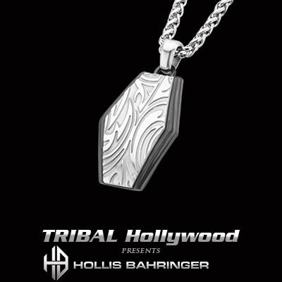 Hollis Bahringer Gotham Shield Mens Necklace w Black Steel