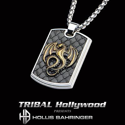 Hollis Bahringer Kingdom Dragon Dog Tag Black Steel Necklace