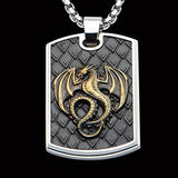 Hollis Bahringer Kingdom Dragon Dog Tag Black Steel Necklace Front View
